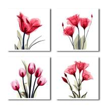 HLJ ART Red Flower Paintings Modern Tulip Rose Picture Printed on Canvas for Living Room Decor and Modern Home Decorations
