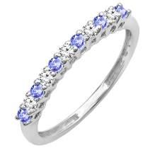 Dazzlingrock Collection 14K Round Gemstone & White Diamond Anniversary Stackable Wedding Band, White Gold