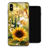 iPhone X Case,Butterfly Golden Sunflower iPhone Xs Cases for Girls,Tempered Glass Pattern Design Back Cover [Shock Absorption] Soft TPU Bumper Frame Support Case for iPhone X/XS Yellow Flower