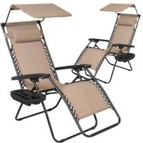 Patio Chairs Zero Gravity Chair Lounge Chair 2Pack Recliner for Outdoor Funiture W/Folding Canopy Shade and Cup Holder (Tan)