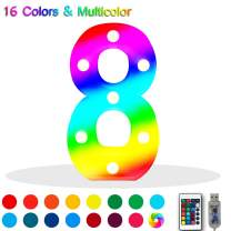 16 Color Changing Marquee Letter Light,Light Up Colorful 33 Alphabet Signs – Home Decor Name Signs – Battery Operated LED Remote Timer – Lighted Vintage Accessories & Decorations 8