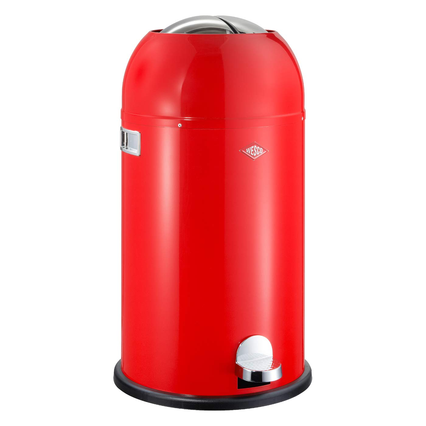 Wesco Kickmaster - German Designed - Step Trash Can, Powder Coated Steel, 8.7 Gallon / 33 L, Red