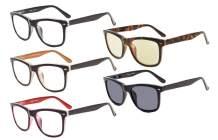Eyekepper 5-Pack Readers Square Large Lenses Spring-Hinges Reading Glasses Include Computer Glasses Men Women +2.0