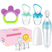 Food Feeder Baby Fruit Feeder Pacifier (2 Pack) with 3 Different Sized Silicone Pacifiers, Infant Teething Toy Silicone Teether and Squeeze Baby Food Dispensing Spoon, Baby First Feeding Set by MICHEF