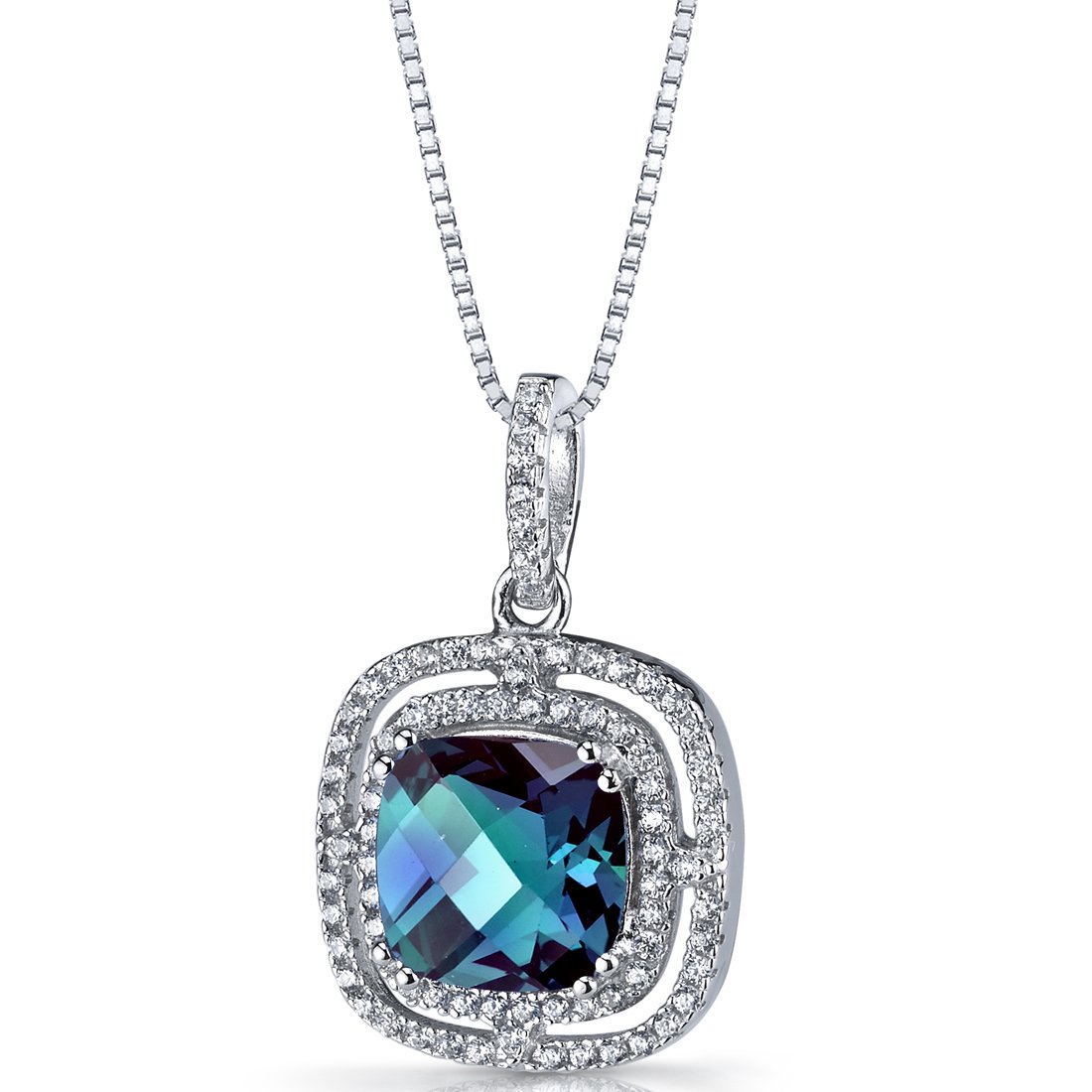 Simulated Alexandrite Cushion Cut Pendant Necklace Sterling Silver 4.25 Carats