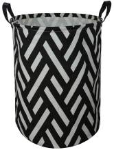 ASKETAM Laundry Basket,Canvas Fabric Laundry Hamper,Dirty Clothes Storage Bin,Collapsible Toy Organizer for Office,Bedroom, Clothes,Toys,Gift Basket (Black line Geometry)