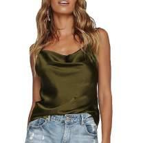 Womens Silk Spaghetti Strap Camisole Sexy Adjustable Satin Slip Soft Vest Tank Top for Women