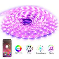 YIJUYX LED Strips Lights 32.8Ft 10M RGB SMD 5050 Flexible Color Changing Light Kit with Bluetooth Phone App Control, Music Sync Light Strip for Home Decoration, 12V 5A Power Supply