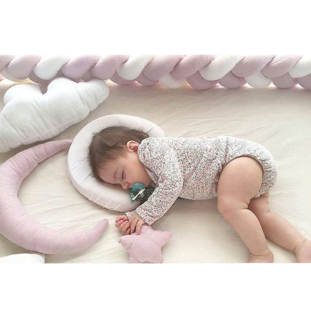 """Infant Soft Pad Braided Crib Bumper Knot Pillow Cushion Cradle Decor for Baby Girl and Boy (Pink-White-Pink, 157"""")"""