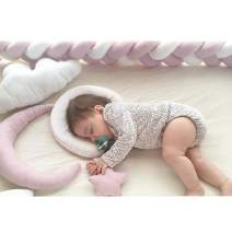 "Infant Soft Pad Braided Crib Bumper Knot Pillow Cushion Cradle Decor for Baby Girl and Boy (Pink-White-Pink, 118"")"