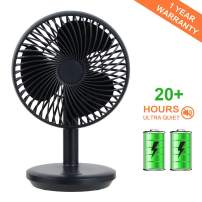 Funnideer Personal USB Table Fan, Portable 4000mAh Rechargeable Battery Powered Fan, Air Circulation Noiseless Fan, Adjustable 4 Speeds Personal Powerful Fan for Home, Office, Gym, Library, Outdoor