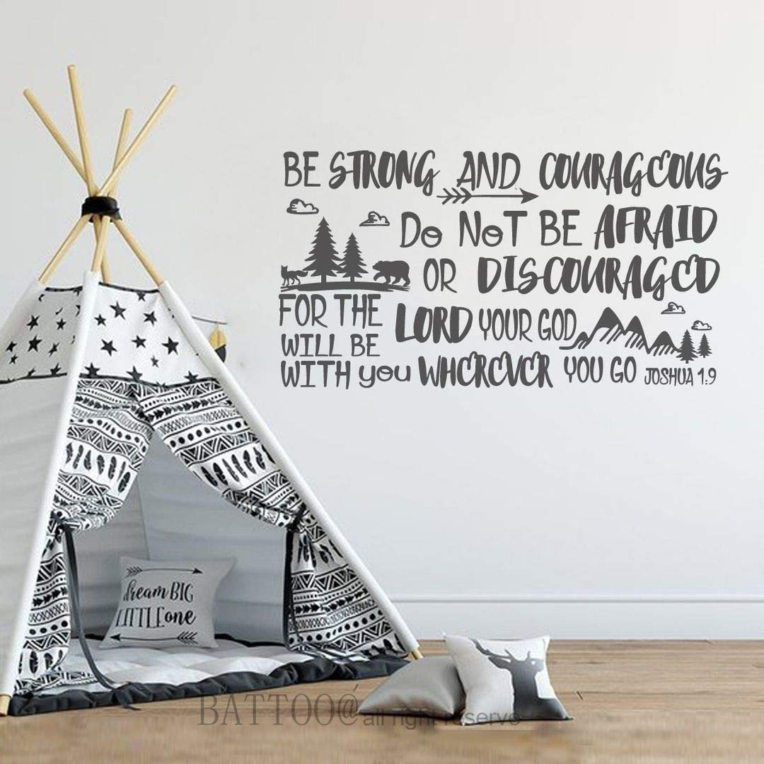 """BATTOO Be Brave Strong and Courageous- Joshua 1:9 Bible Scripture Wall Decal Quotes for Boys Room Boys Nursery Baby Room Vinyl Letters Inspirational Wall Decor(Dark Gray, 34"""" WX18 H)"""
