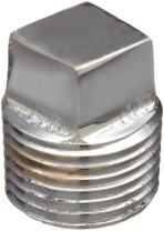 "Chrome Plated Brass Pipe Fitting, Square Head Cored Plug, 1/2"" NPT Male"