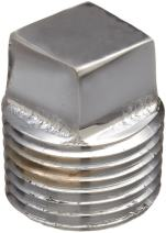 """Chrome Plated Brass Pipe Fitting, Square Head Cored Plug, 1/2"""" NPT Male"""