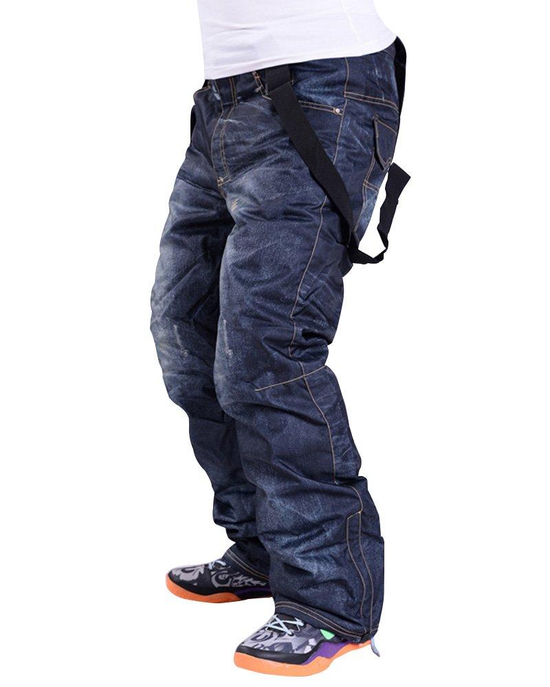 Asfixiado Mens Bib Snowboard Pants,Winter Warm Ski Snow Waterproof Denim Suspenders Jeans Trousers