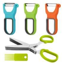 3 Pack Peelers,YuCool Vegetable Peeler with Non-Slip Handles for Fruit Vegetable+Multipurpose Cutting Shears