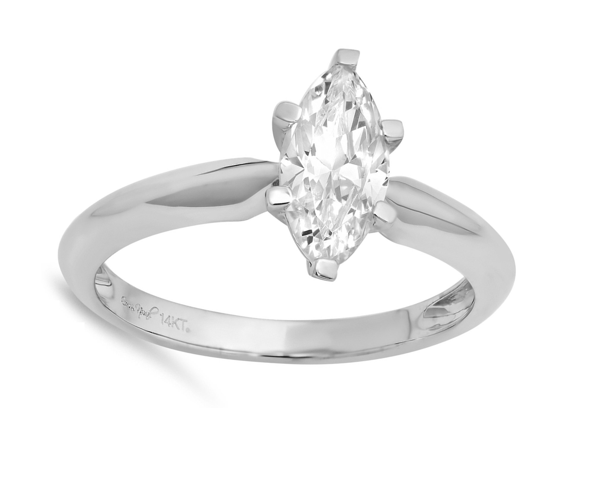 0.95ct Brilliant Marquise Cut Solitaire Highest Quality Moissanite Ideal D 6-Prong Statement Ring in Solid Real 14k White Gold for Women
