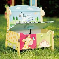 Fantasy Fields - Sunny Safari Animals Thematic Kids Storage Bench  | Imagination Inspiring Hand Crafted & Hand Painted Details   Non-Toxic, Lead Free Water-based Paint