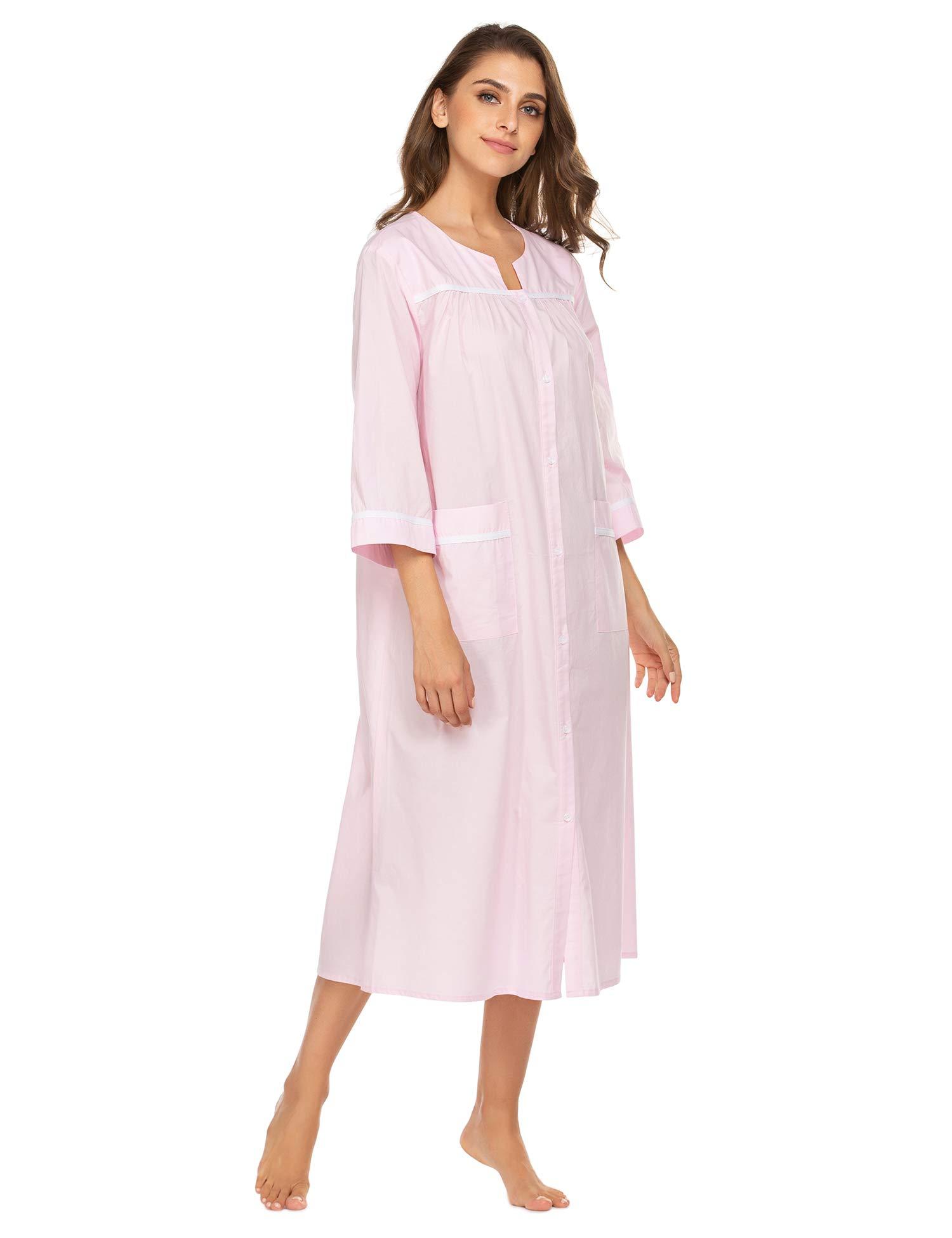 luxilooks Sleepwear Womens Dusters Seersucker 3/4 Sleeve Housecoats Button-Down Long Nightgown Casual House Dress S-XXL
