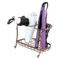 mDesign Metal Bathroom Vanity Countertop Hair Care & Styling Tool Storage Organizer Holder for Hair Dryer, Flat Irons, Curling Wands, Hair Straighteners - 2 Sections, Heat Safe - Venetian Bronze