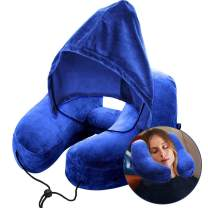 Travel Inflatable Neck Airplane Pillow Adjustable Neck Size With Soft Velour Cover Hat Portable Drawstring Bag Suitable For Adult And Kids In Airplanes、Office Napping Cars Camping Outdoors (Blue)