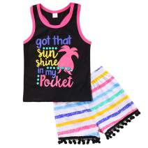 Kids Baby Girls Letters Print Tank Top and Floral Shorts Set Summer Casual Outfits