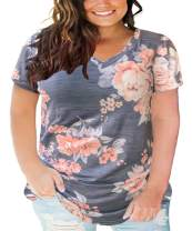 CARCOS Plus Size Shirts for Women Short Sleeve Summer Tops Tie Dye Tunics XL-5XL