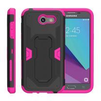 TurtleArmor | Compatible with Samsung Galaxy J3 Emerge Case | J3 2017 Case | J3 Prime [Clip Caliber] High Impact Shockproof Armor Kickstand Holster Belt Clip Pink Case - Pink