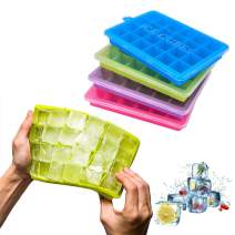 Ice Cube Trays 4 Pack,Silicone Ice Tray with Removable Lid Easy-Release Flexible Ice Cube Molds 24 Cubes per Tray for Cocktail, Whiskey, Baby Food, Chocolate, BPA Free