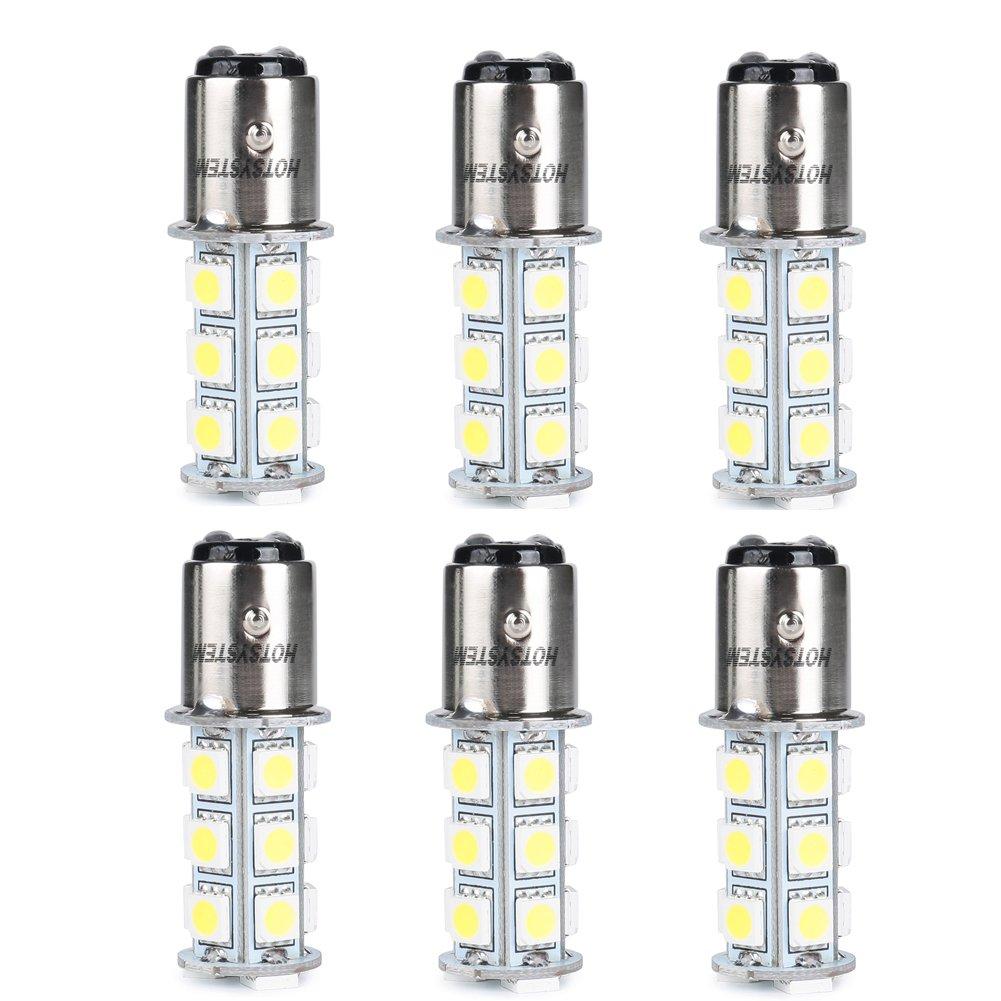 HOTSYSTEM 1157 LED Light Bulbs DC12V BAY15D P21/5W 2357 18-5050SMD for Car RV SUV Camper Trailer Trunk Interior Reversing Backup Tail Turn signal Corner Parking Side Marker Lights(White,Pack of 6)