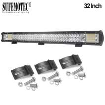 LED Light Bar SUFEMOTEC Triple Row 32 inch 432W Waterproof Spot Flood Combo Beam LED Work Light Bar For Off Road Auto Driving Fog Lights With Mounting Bracket Trucks Car ATV SUV Jeep 4X4 12V 24V
