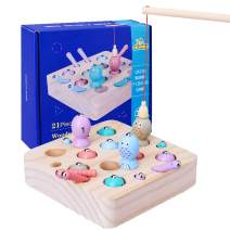 Magnetic Fishing Toy Game for Toddler Wooden Boys Girls Baby Bath Pool Toys Fishing Travel Table Games Gift for 2 3 Year Old Basic Educational Development Sea Animals and Number Learning Toy
