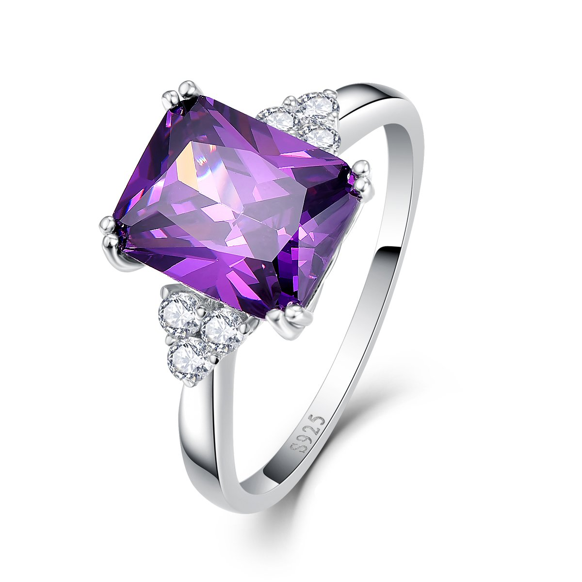 BONLAVIE Women's 5.25Ct Emerald Cut Created Amethyst CZ 925 Sterling Silver Solitaire Engagement Ring