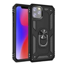 iPhone 11 2 in 1 Kickstand Case, Lozeguyc iPhone 11 Soft TPU Slim Hard PC Shockproof Cover with Magnetic Car Mount Plate Military Protective Case for iPhone 11 6.1 Inch-Black