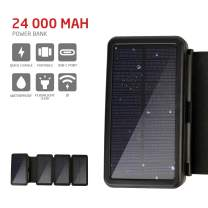 PowerLocus Solar Charger – [4 Efficient Panels] USB-C 24000mAh Waterproof Solar Battery Charger for Emergency, Portable Solar Power Bank Wireless Battery Charger for Phones/Tablets/GPS/Camping,etc.