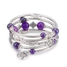 Cat Eye Jewels Layered Wrap Bangle Bracelet Natural Chakra Beads Gemstone OM Charm Bracelets for Women Girls Boho Jewelry