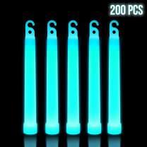 Lumistick 6 Inch Premium Glow Sticks   15mm Thick Flat Bottom Illuminating Glowing Sticks   Waterproof & Non-Toxic Light Up Neon Sticks with Hook for Camping & Hiking (200 Glow Sticks, Aqua)