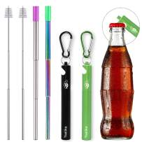 Yoelike 2 Pack Telescopic Re-usable Stainless Steel Metal Straws with Bottle Opener Case, Cleaner Brush, Keychain, Carabiner, Silicone Tips for Drinking Water, Smoothie, Juice (Black/Green)