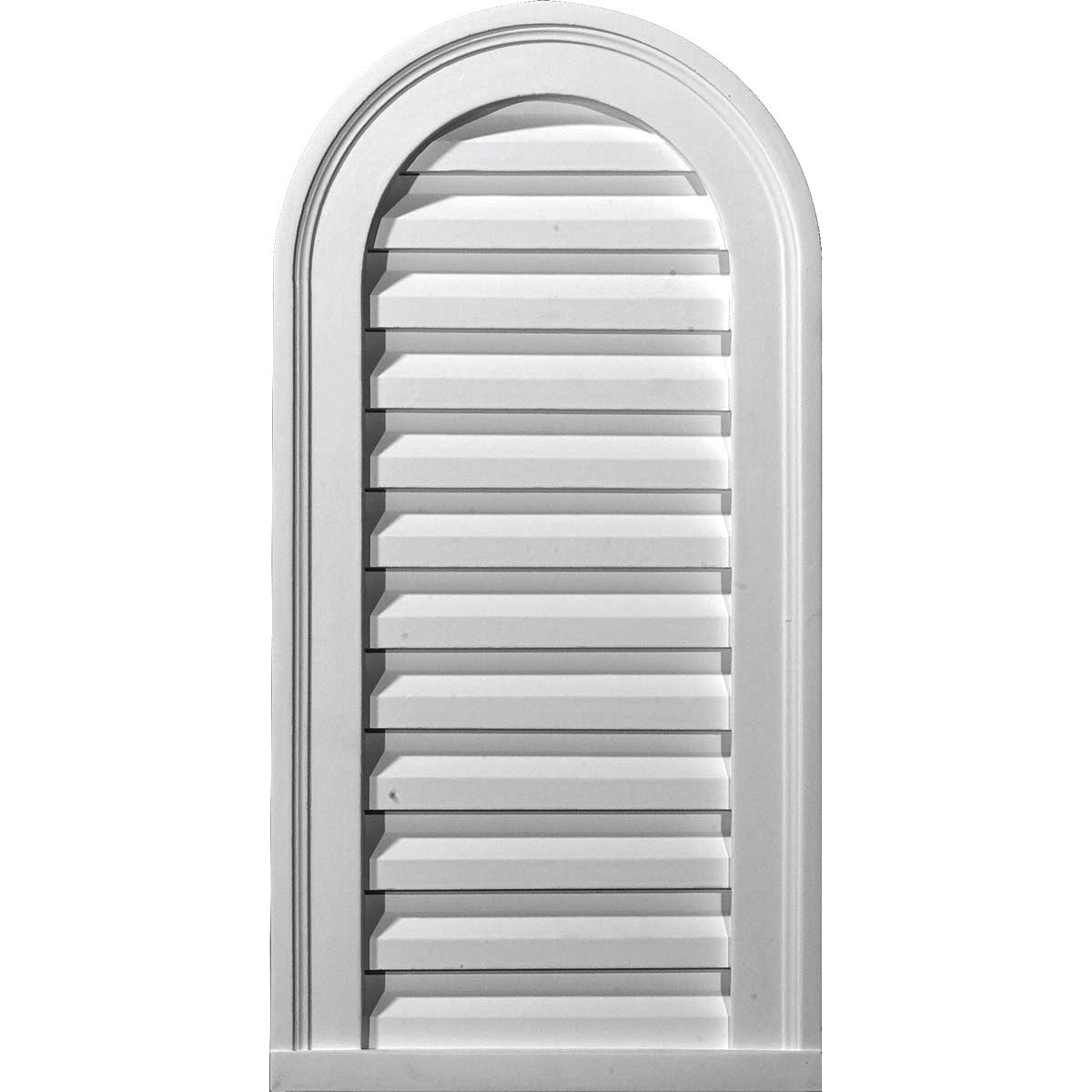 """Ekena Millwork GVCA18X26F Cathedral Urethane Gable Vent Louver, Functional, 18""""W x 26""""H x 1 1/4""""P, Primed"""