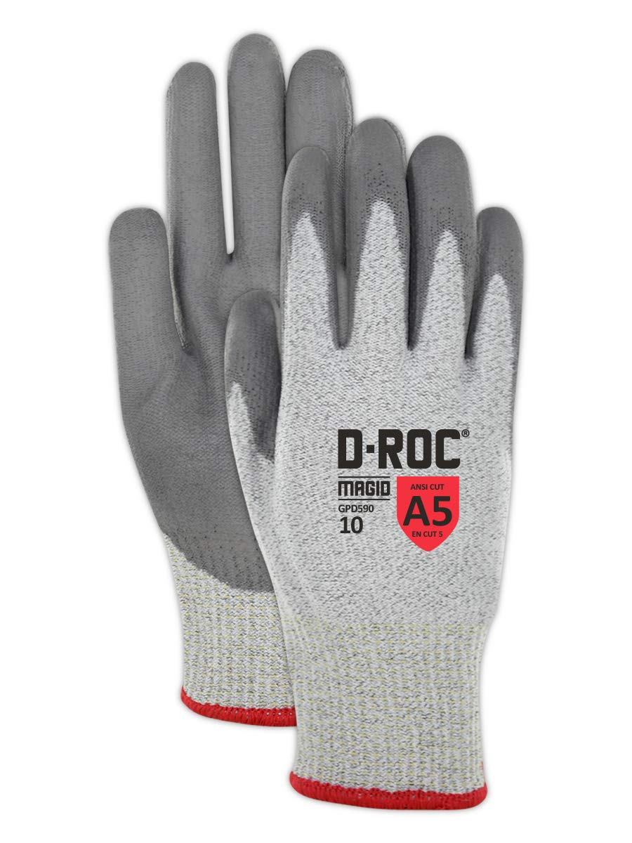 Magid D-ROC HPPE Blended Polyurethane Palm Coating Glove with Knit Wrist Cuff, Work, Salt and Pepper  (12 Pairs), 7