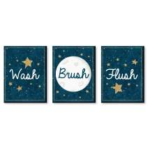 Big Dot of Happiness Twinkle Twinkle Little Star - Kids Bathroom Rules Wall Art - 7.5 x 10 inches - Set of 3 Signs - Wash, Brush, Flush