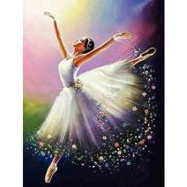 5D Diamond Painting Dancer Full Drill by Number Kits, SKRYUIE DIY Rhinestone Pasted Paint with Diamond Set Arts Craft Decorations (12x16inch)