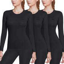 TSLA 1 or 3 Pack Women's Sports Compression Shirt, Cool Dry Fit Long Sleeve Workout Tops, Athletic Exercise Gym Yoga Shirts