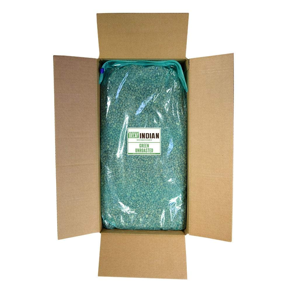 Fresh Roasted Coffee LLC, Green Unroasted Indian Monsooned Malabar Decaffeinated Coffee Beans, Water Process, Bulk 25 Pound Bag