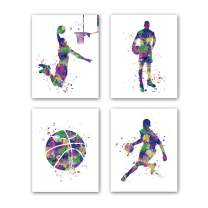 """HPNIUB Basketball Art Prints, Set of 4 (8""""X10""""), Sport Player Silhouette Canvas Poster, Watercolor Splatter Painting for Bedroom Office Living Room Decor, No Frame"""