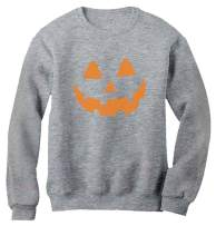 Orange Pumpkin Face Jack O' Lantern Halloween Costume Women Sweatshirt