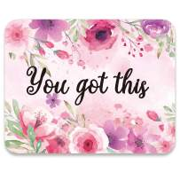 AUDIMI Mouse Pad Pink Foral Design You Got This Inspirational Quote Watercolor Floral Design Mouse Mat for Office Decor