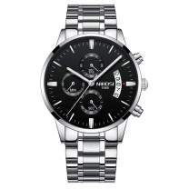 NIBOSI Men's Watches Chronograph Waterproof Military Quartz Luxury Fashion Casual Dress Wristwatches for Men Stainless Steel Band Black Color 2309-GKHMgd