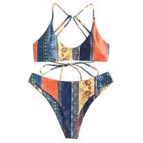 ZAFUL Women's V-Wired Striped Reversible Two Piece Bikini Set Strappy Swimsuit