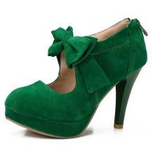 Women's Vintage Bowtie Pumps Platform High Heel Dress Shoes